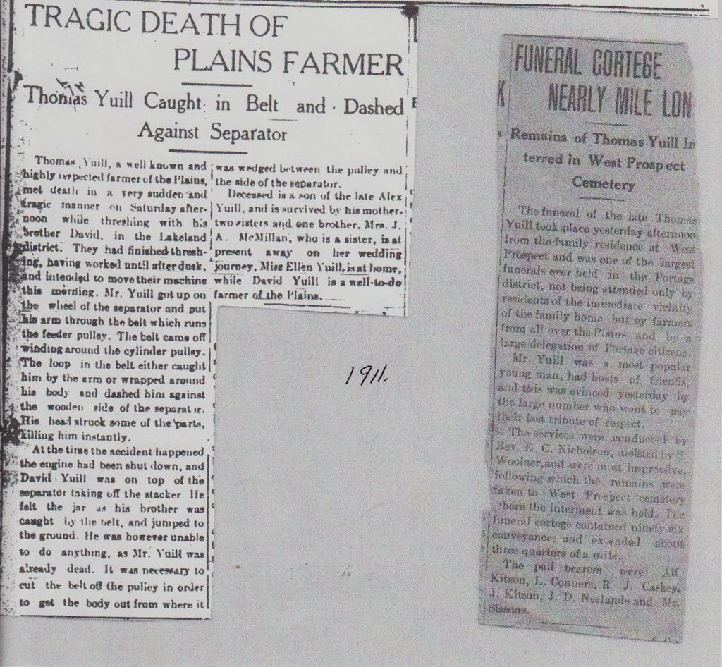 Thomas Yuill death clippings